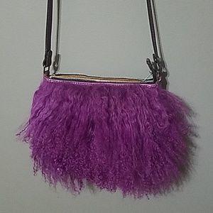 Patricia Nash Purple leather and fur bag